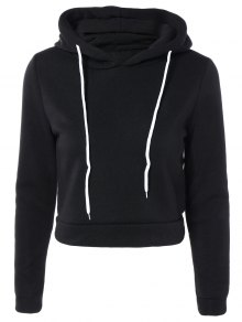 Cropped Pure Color Long Sleeve Hoodie - Black