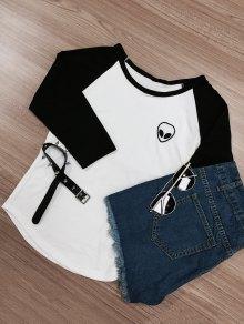 Raglan Sleeve Skull Print Color Block T-Shirt
