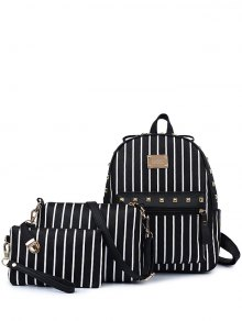 Striped Rivet PU Leather Backpack