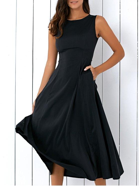 latest Sleeveless Round Neck Loose Fitting Midi Dress - BLACK S