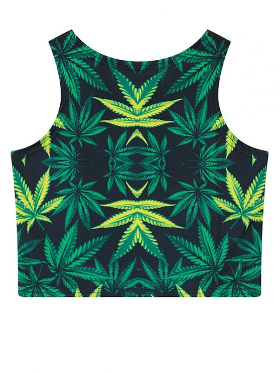Leaf Print Crop Top - GREEN ONE SIZE Mobile