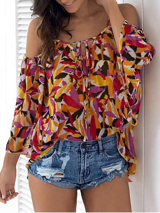 latest Cold Shoulder Flowy Chiffon Top - YELLOW M