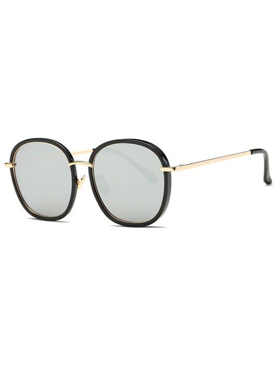 Doble gran tamaño del marco gafas de espejo - Plata