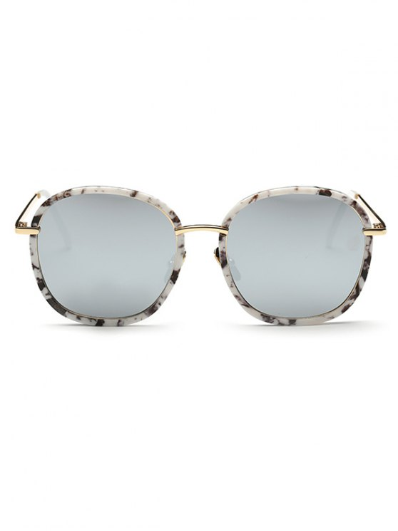 Marble Oversized Mirrored Sunglasses - WHITE  Mobile