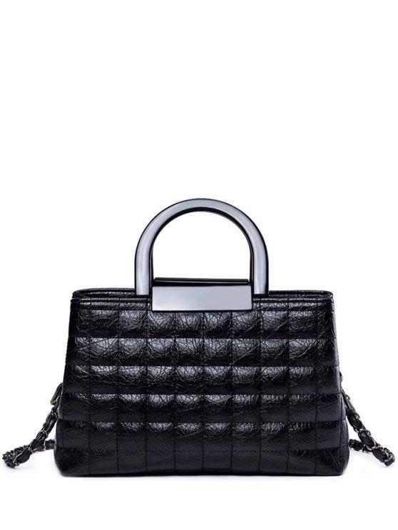La bolsa de asas de la tela escocesa cadena de patrones PU - Negro