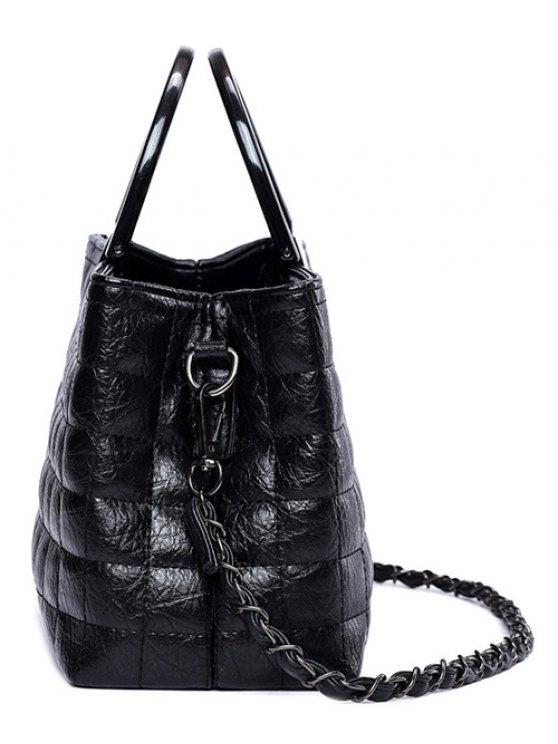 Plaid Pattern Chain PU Leather Tote Bag - BLACK  Mobile