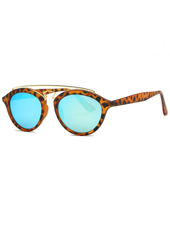 best Crossbar Leopard Mirrored Trendsetter Sunglasses - LIGHT BLUE