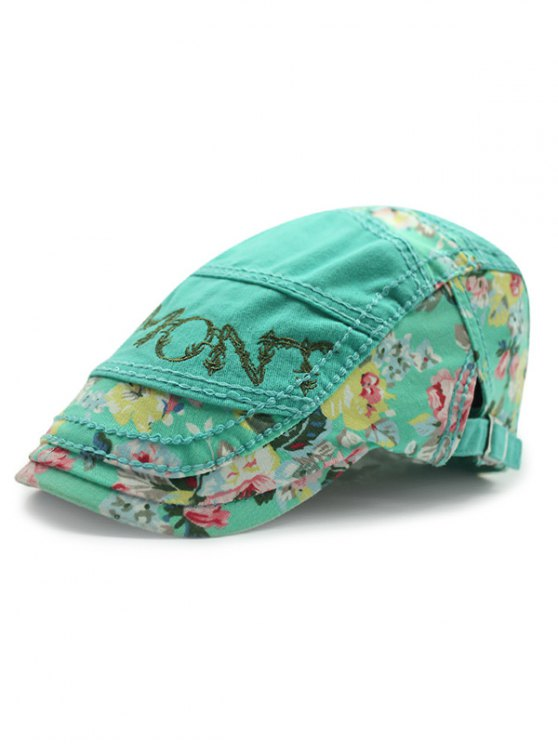 chic Outdoor Letter Embroidery Tiny Flower Casual Ivy Newsboy Cap - MINT GREEN