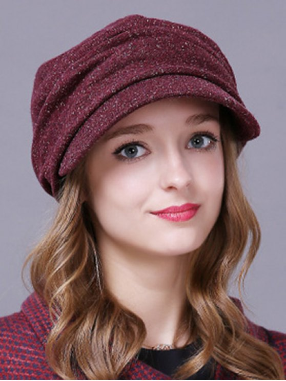 trendy Outdoor Casual Pleated Relaxed Fit Newsboy Cap - CLARET