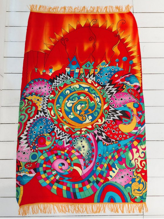 Fringed Rectangle Beach Mat - COLORMIX ONE SIZE Mobile