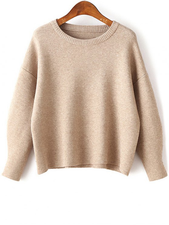outfit Dropped Shoulder Sleeve Solid Color Thicken Sweater - APRICOT ONE SIZE
