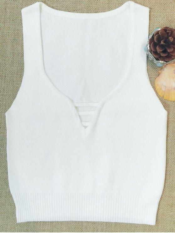 shops Sleeveless V Neck Sweater - WHITE M