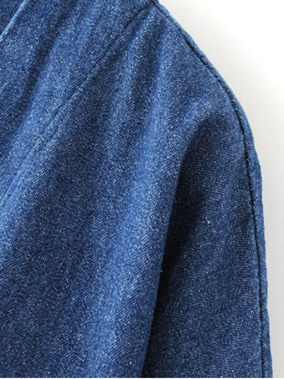 Embroidered Denim Trench Coat - BLUE S Mobile