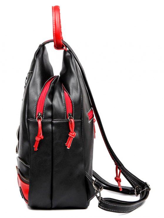 Knots Leaf Pattern PU Leather Backpack - BLACK  Mobile
