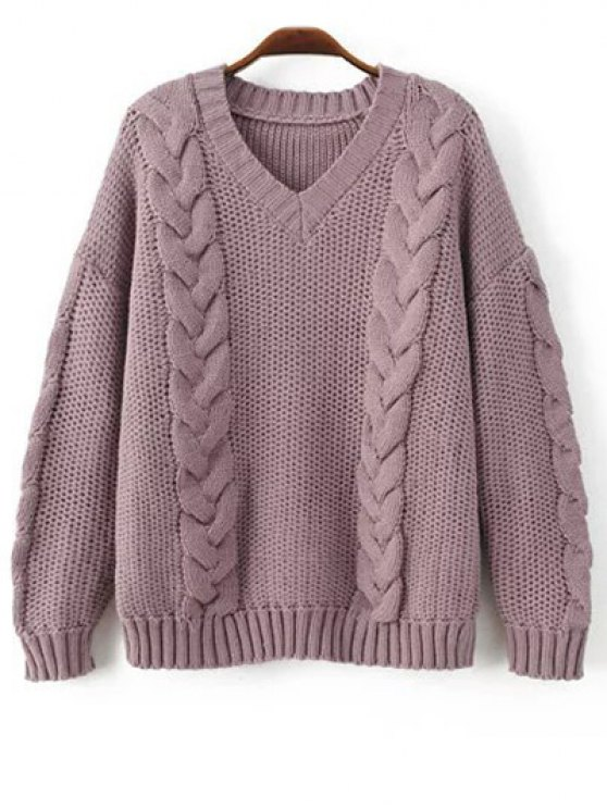 affordable Braid Knit Pullover Sweater - PURPLE ONE SIZE
