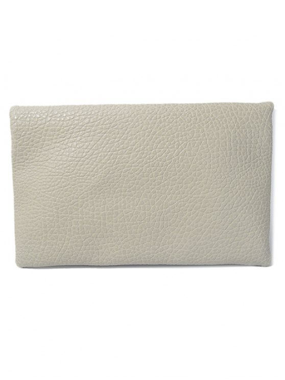 Magnetic Closure Cut Out PU Leather Clutch Bag - LIGHT GRAY  Mobile