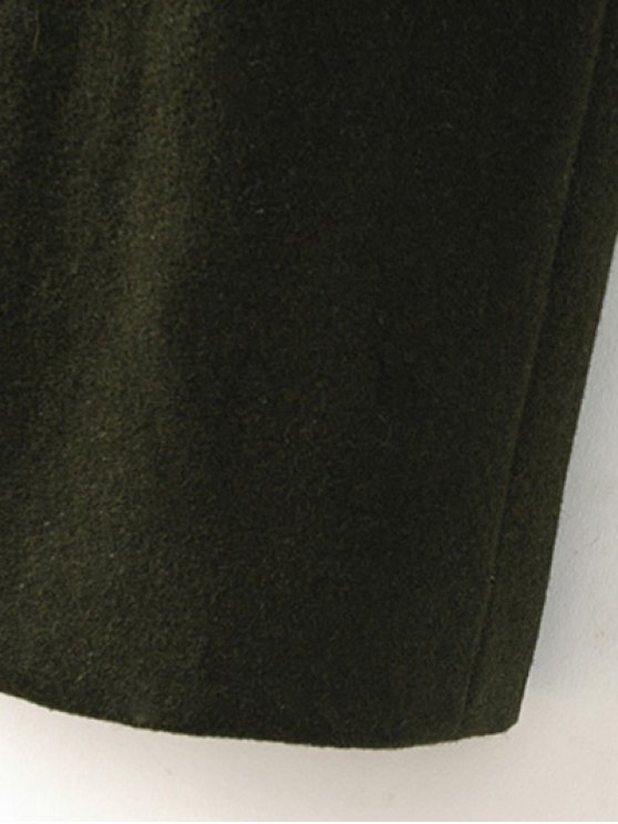 Military Style Wool Blend Coat - ARMY GREEN M Mobile