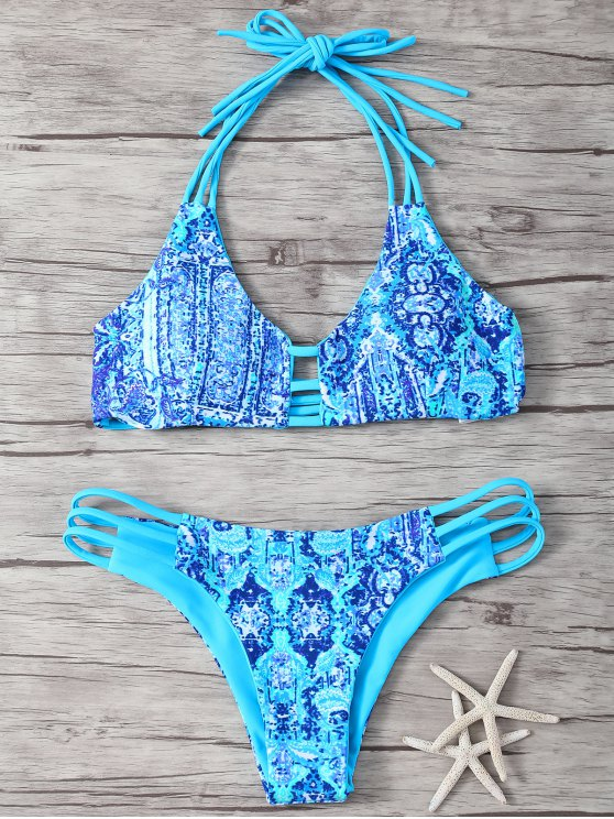 fancy Halter Double Side Strappy Print Bikini Set - BLUE M