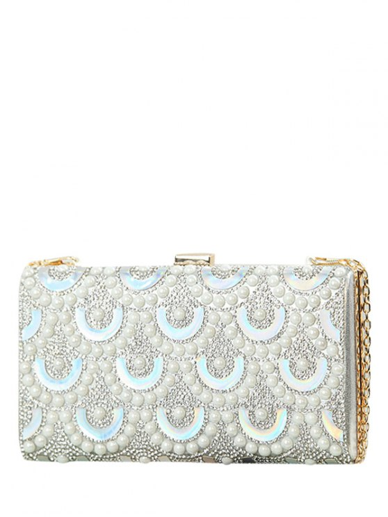 Rhinestone Sequins Evening Bag - SILVER  Mobile