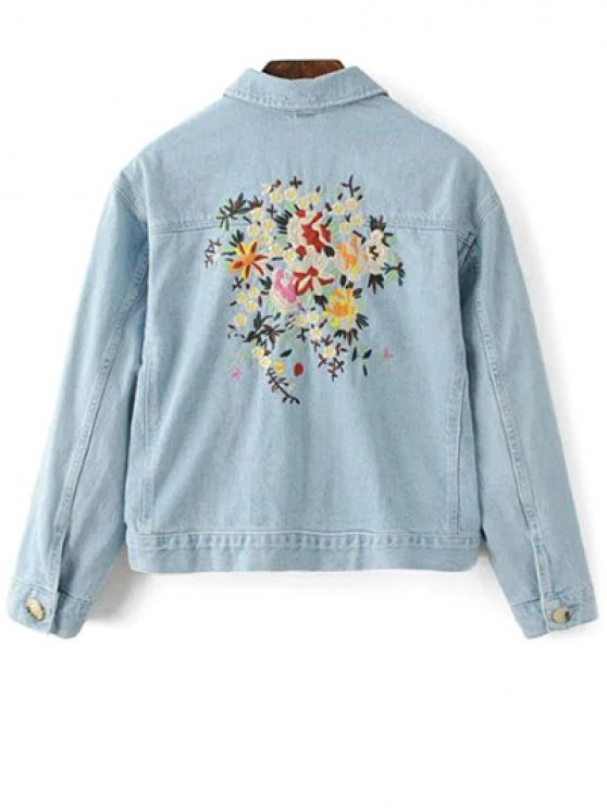 Embroidered Bleach Wash Denim Jacket - LIGHT BLUE L Mobile