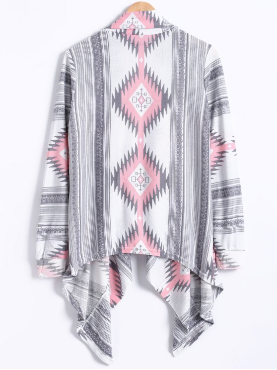 Geometric Pattern Long Sleeve Cashmere Cardigan - LIGHT GRAY M Mobile