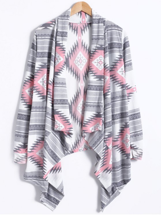 hot Geometric Pattern Long Sleeve Cashmere Cardigan - LIGHT GRAY L