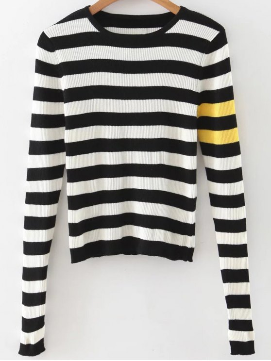 fancy Stripe Pullover Sweater - WHITE AND BLACK L