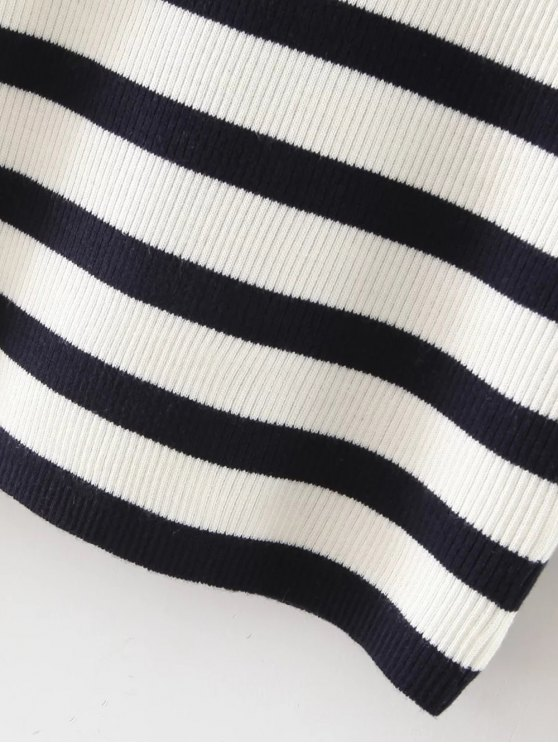 Long Sleeves Striped Sweater - BLACK AND WHITE AND RED S Mobile