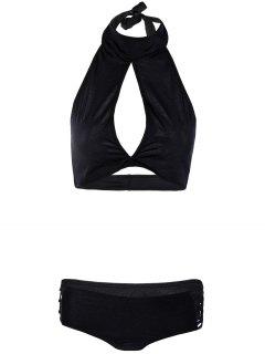 Hollow Out High Neck Black Bikini Set - Black L