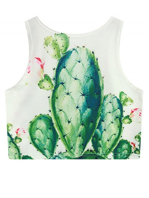 trendy Cactus Print Crop Top - WHITE ONE SIZE Mobile