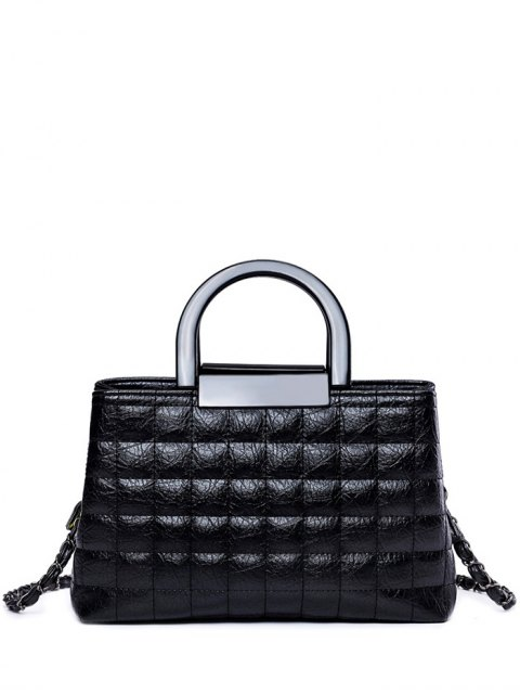 sale Plaid Pattern Chain PU Leather Tote Bag - BLACK  Mobile