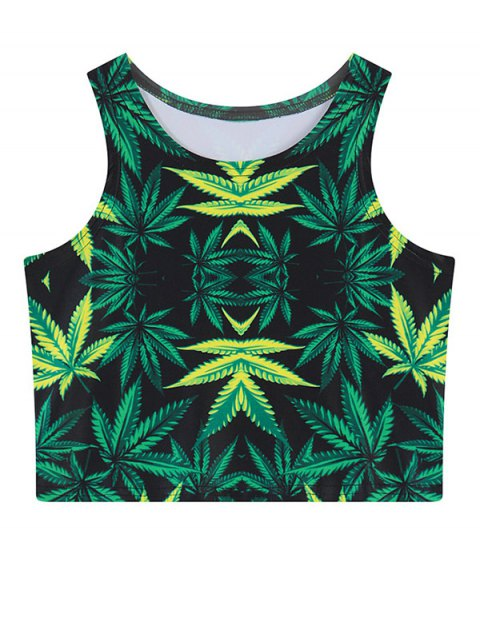 chic Leaf Print Crop Top - GREEN ONE SIZE Mobile