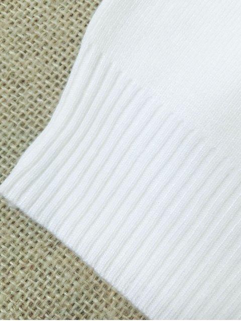 latest Sleeveless V Neck Sweater - WHITE S Mobile