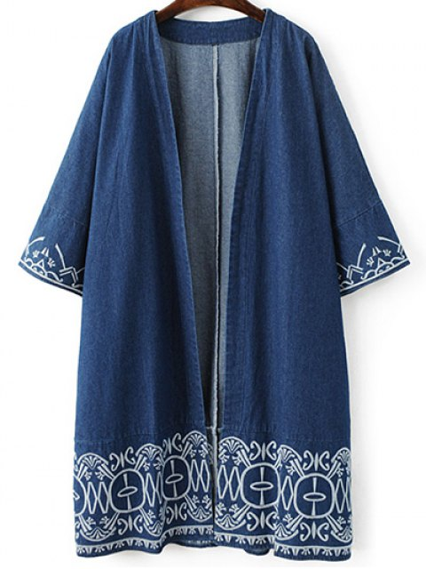 unique Embroidered Denim Trench Coat - BLUE M Mobile