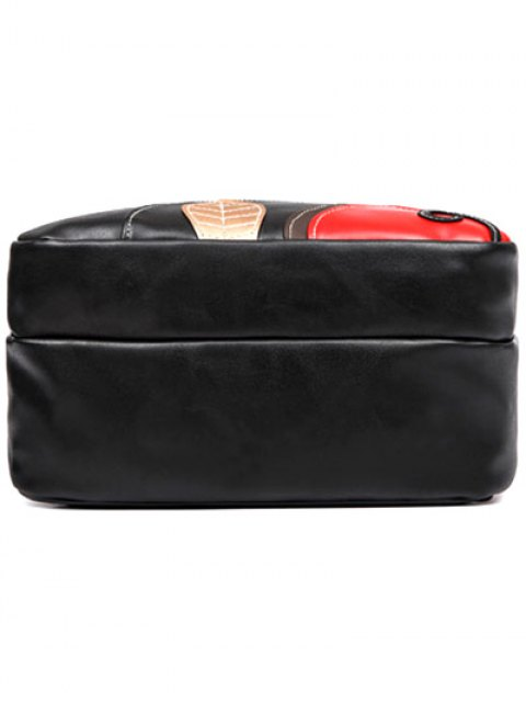womens Knots Leaf Pattern PU Leather Backpack - BLACK  Mobile