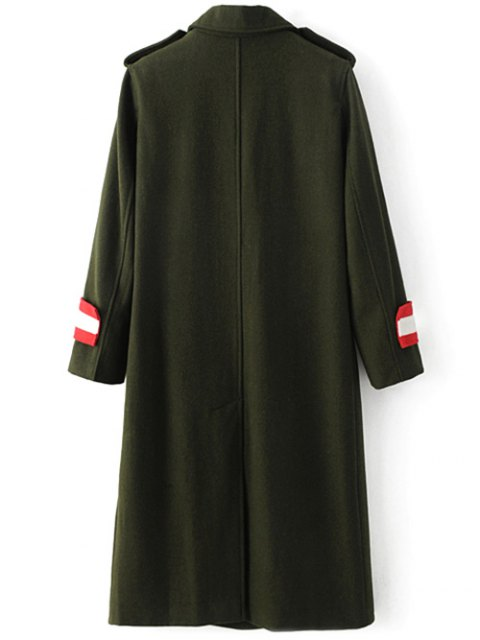 buy Military Style Wool Blend Coat - ARMY GREEN M Mobile