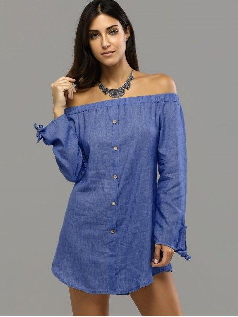 shop Off Shoulder Bowknot Denim Shift Dress - DEEP BLUE S Mobile