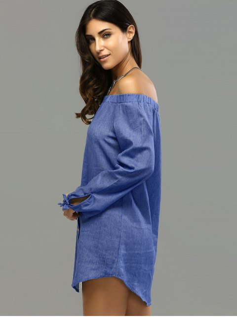 outfits Off Shoulder Bowknot Denim Shift Dress - DEEP BLUE M Mobile