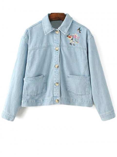 affordable Embroidered Bleach Wash Denim Jacket - LIGHT BLUE L Mobile