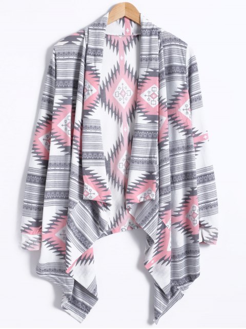 outfits Geometric Pattern Long Sleeve Cashmere Cardigan - LIGHT GRAY S Mobile