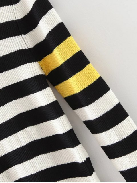 fancy Stripe Pullover Sweater - WHITE AND BLACK L Mobile