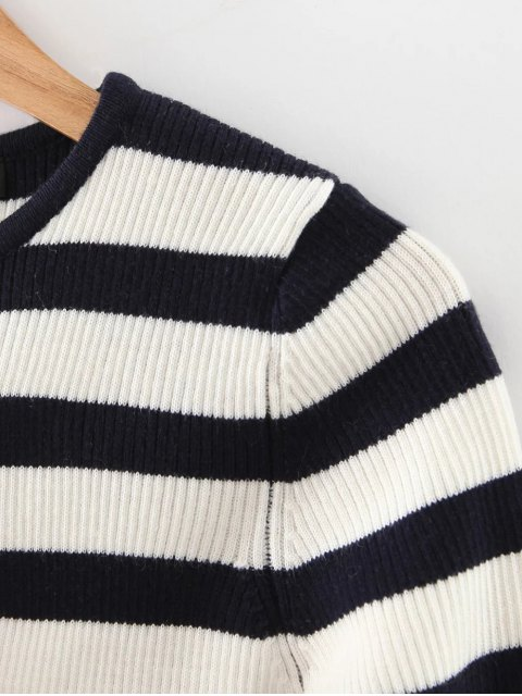 buy Long Sleeves Striped Sweater - BLACK AND WHITE AND RED M Mobile