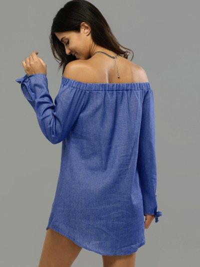 Off Shoulder Bowknot Denim Shift Dress - DEEP BLUE S Mobile