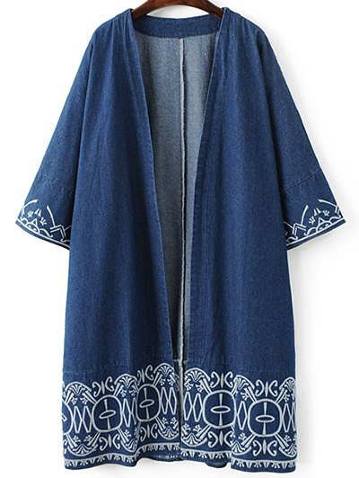 Embroidered Denim Trench Coat - BLUE L Mobile