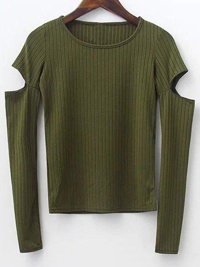 Round Neck Split Sleeve Ribbed Sweater