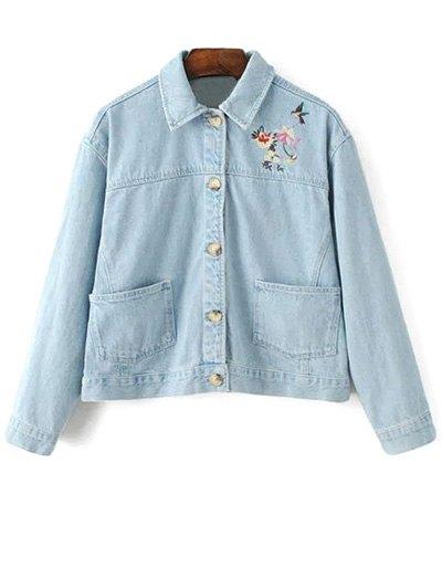 Embroidered Bleach Wash Denim Jacket - LIGHT BLUE L Mobile