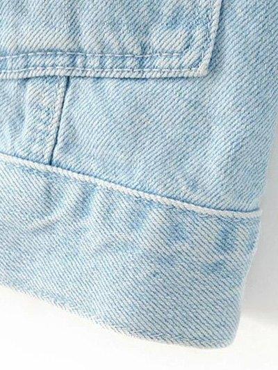 Embroidered Bleach Wash Denim Jacket - LIGHT BLUE M Mobile