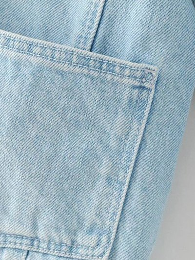 Embroidered Bleach Wash Denim Jacket - LIGHT BLUE S Mobile