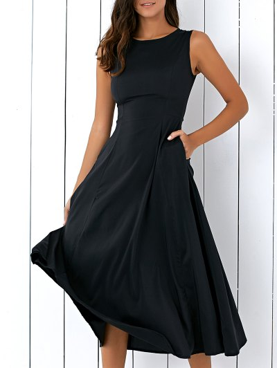 Sleeveless Round Neck Loose Fitting Midi Dress - BLACK L Mobile