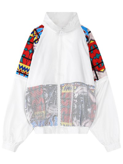 Mesh Detail Embroidered Jacket - White